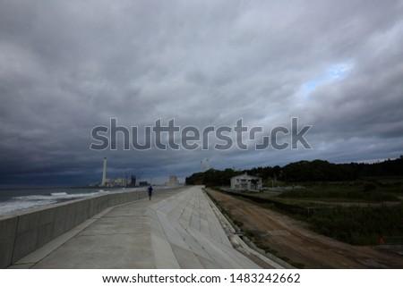embankment(breakwater; seawall) against tsunami in Fukushima, Japan #1483242662