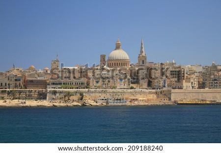Embankment of Marsamksett harbor. Valletta, Malta Stock photo ©