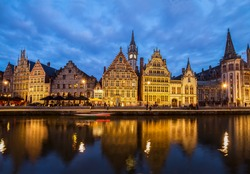 Embankment of old town at blue night, Ghent, Belgium