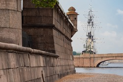 Embankment of Saint Petersburg. Russian Federation. Walls of Peter and Paul Fortress. Excursions in Saint Petersburg. Tour of cities of Russia. Embankment of the Peter and Paul Fortress.