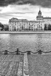 Embankment of the Moskva River. Black and white photography. Russia. A view of the Frunzenskaya embankment from the side of Gorky Park.