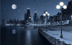 Embankment of the night city - photo for interior design. Wall murals. Lights on the embankment at night. Night moon over the city