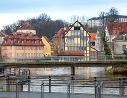 Embankment of the old city on a cloudy day. Bamberg. Bavaria Germany.