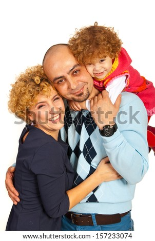 Embraced happy family isolated on white background
