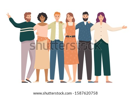 Embracing friends group portrait. Happy students, school teenagers friends stand together and friendship. School classmate teenager friend character or corporate colleagues meeting  illustration