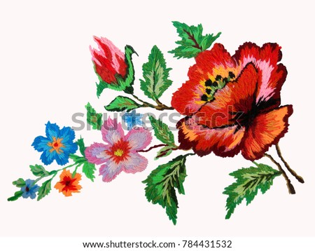 embroidered flowers isolated on white background, embroidered poppy flower, Ukrainian hand embroidery