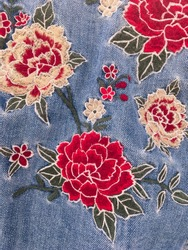 Embroidered flowers jeans texture