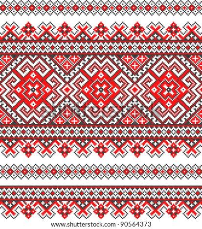 embroidered good like handmade cross-stitch ethnic Ukraine pattern. Raster version over 20MPx