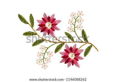 Embroidered satin stitch wavy sprig with pink- red and purple cornflowers and delicate white flowers on white background