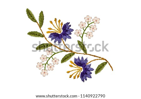 Embroidered satin stitch wavy sprig with purple cornflowers and delicate white flowers on white background