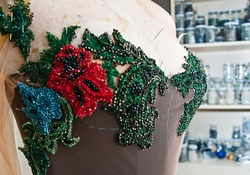 Embroidery and needlework patterns for handmade dresses made using embroidery needle
