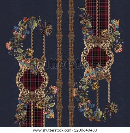 Embroidery baroque design