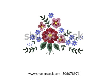Embroidery bouquet of red and purple flowers and leaves on white background.
