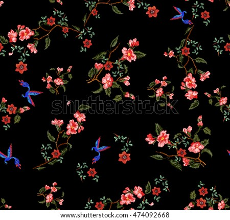 embroidery effect floral pattern