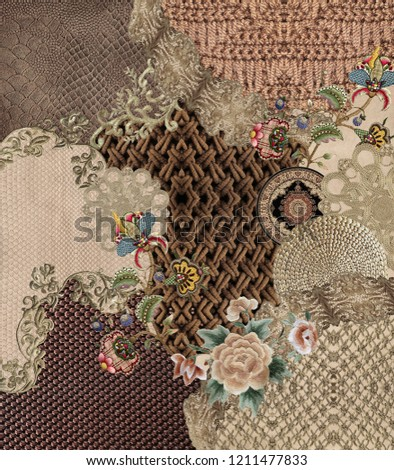 Embroidery flowers texture design