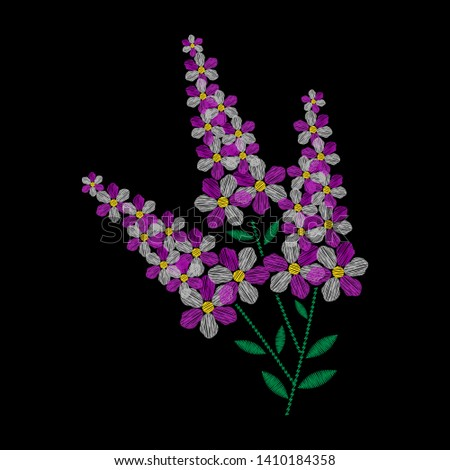 Embroidery is smooth. Embroidery with smooth flowers purple. illustration on a black background