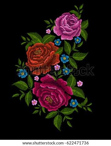 Embroidery peonies. Ethnic ornament for your design.