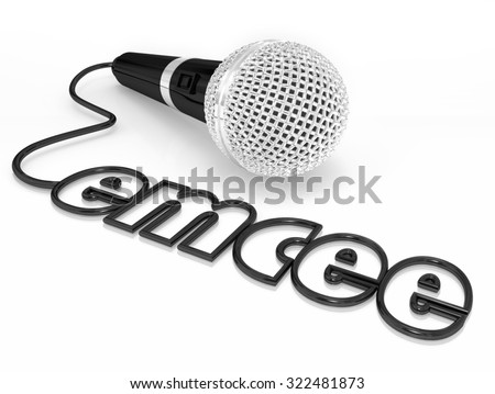 Emcee word in a microphone cord to illustrate a master of ceremonies or MC who is a host for an event, ceremony or award competition or show Stock photo ©