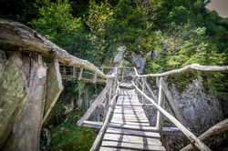 Emen Canyon, Bulgaria. Wood bridge over the river into a luxuriant forest