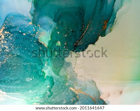 Emerald Alcohol Ink Backgrounds. Abstract Draw. Turquoise Alcohol Ink Background. Oil Water Background. Green Art. Aquamarine Color Oil Paint. Mineral Vintage. Stock photo ©
