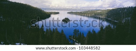 Emerald Bay at Lake Tahoe in winter, California
