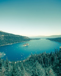 Emerald Bay Lake Tahoe California with a vintage tone effect