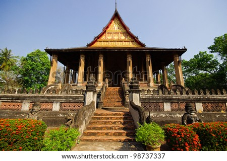 Emerald buddha temple in Vientiane laos