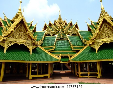 Emerald Buddhist temple in Ayutthaya, Thailand. - stock photo