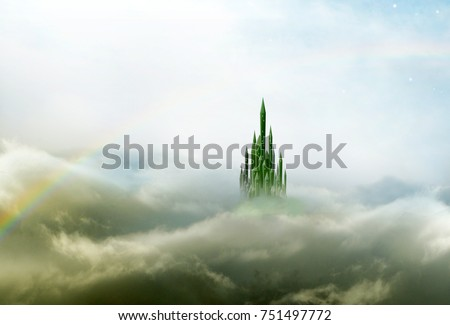 emerald city in mist