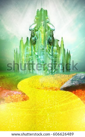 EMERALD CITY WITH YELLOW BRICK ROAD