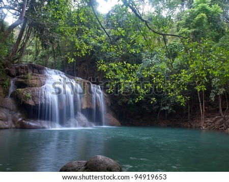 Emerald color water in tier second of Erawan waterfall, Erawan National Park, Kanchanaburi, Thailand