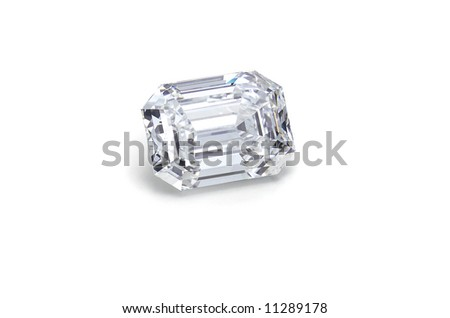 emerald cut diamond on white angled