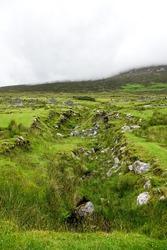 Emerald green path in mist, Boley Village, Achill, County Mayo, Ireland.Eire,Europe