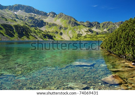 Emerald green water of mountain lake 5 lakes valley of High Tatras