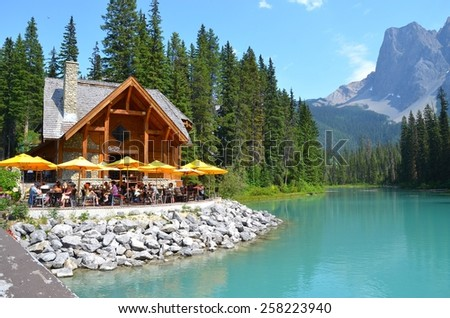 EMERALD LAKE, ALBERTA - AUGUST 1 - Emerald Lake in Alberta, Canada on August 01, 2014. The beautiful Emerald Lake is visited by millions of people every year