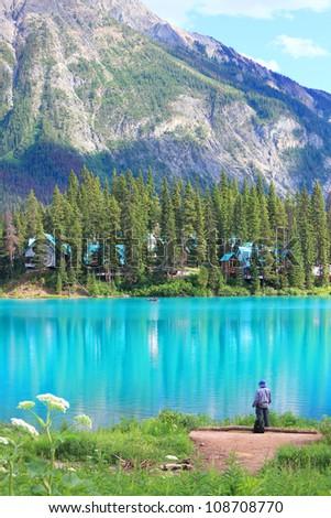 Emerald lake and Rocky Mountains (Yoho National park. Alberta. Canada)