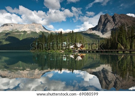 emerald lake in banff national park canada - stock photo