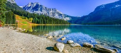 Emerald Lake, Yoho National Park in Canada, banner size