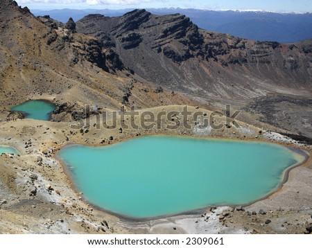 Emerald Lakes in Tongariro National Park in New Zealand