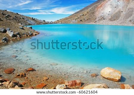 Emerald lakes, Tongariro national park, New Zealand - stock photo