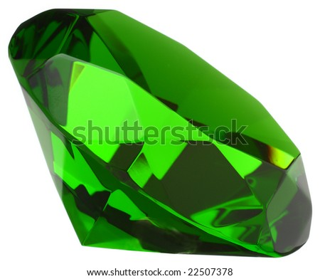 Emerald macro closeup isolated on white