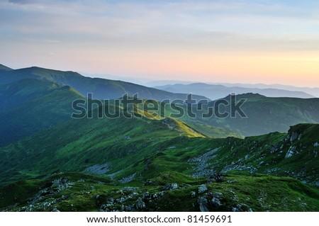 Emerald morning Carpathian Mountains - stock photo