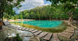 Emerald Pool is unseen pool in mangrove forest at Krabi in Thailand.