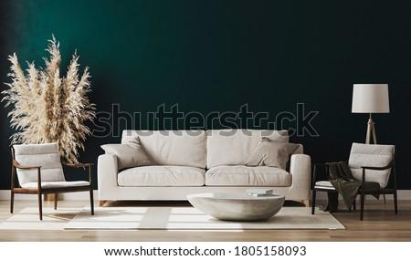 Emerald room interior, living room interior mockup, empty emerald wall, 3d rendering