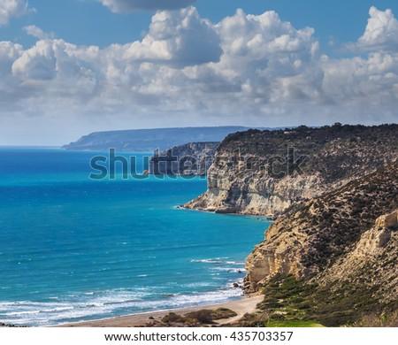 emerald sea coast scene, cyprus #435703357