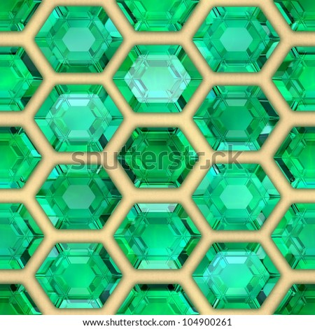 Emeralds. Seamless background. - stock photo