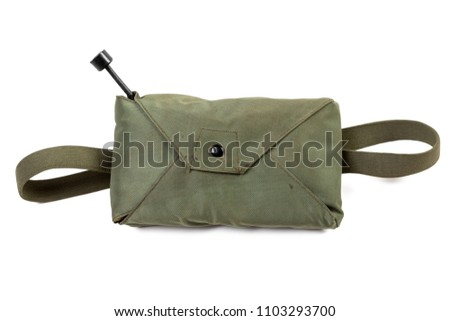 Emergency Air Crew parachute canvas pack, closed, from the US Air Force during the Korean War era, isolated on white