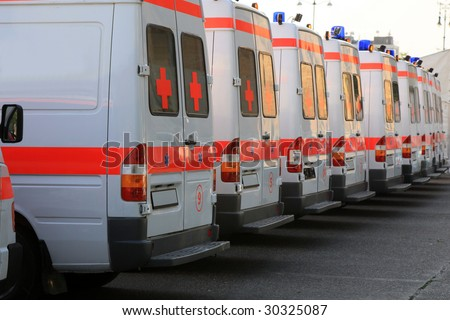 Emergency ambulances in the row