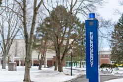 Emergency blue light on college campus