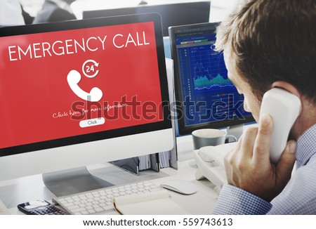 Emergency Call Urgent Accidental Hotline Paramedic Concept #559743613